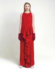 Leuca Red Isabelle Ruffle Maxi Dress