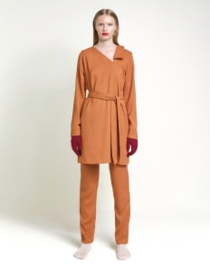 Leuca Caramel Skyler Asymmetric Lapel with Cut Out Detail Top