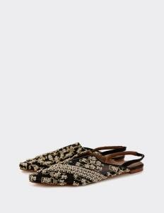saptodjojokartiko Black & Gold Kelimara Embellished Leather Embroidered Mules