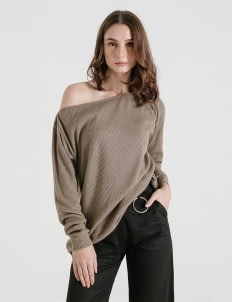 CLOTH INC Taupe Louie Knit Sweater