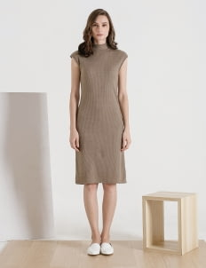 CLOTH INC Taupe Funnel Neck Knit Dress