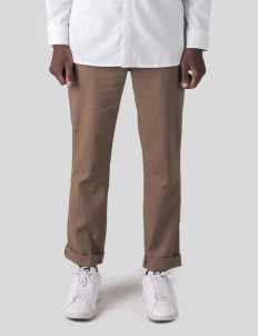 Heim Brown Basic Slim Linen Pants