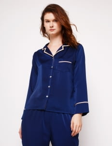 Harper House Navy & Champagne Elise Long Pyjamas Set