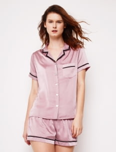 Harper House Pink & Black Elise Short Pyjamas Set