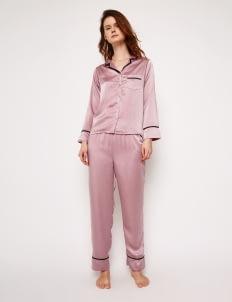 Harper House Pink & Black Elise Long Pyjamas Set