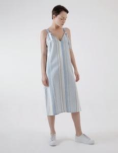 Renoir Stripes Blue Calla Slip Dress