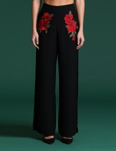 Wearstatuquo Black Floral Mexicora Pants