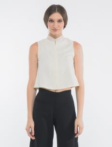 CLOTH INC Beige Shanghai Cropped Top