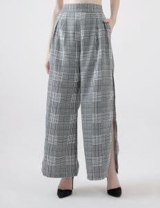 Calla The Label Gray Tartan Slit Palazzo Pants