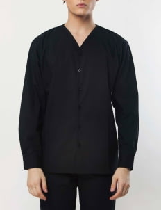 Gavi Black V-Neck Buttoned Shirt