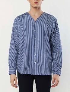 Gavi Dark Blue V-Neck Buttoned Shirt