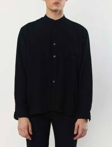 Gavi Black Mandarin Crepe Shirt