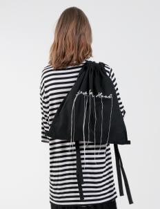"Satchel Black ""Tense"" Embroidery Drawstring Bag"