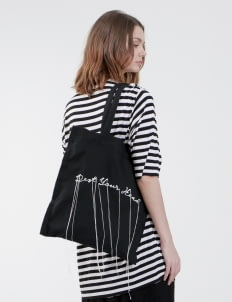 "Satchel Black ""Future"" Embroidery Tote Bag"