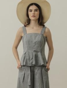 NANNA Gray Godet Sleeveless Top