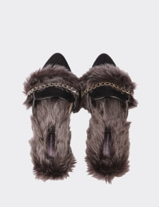 Valencia Black Max Furry Slippers
