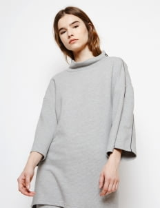 Muzca Misty Gray Stripe Texture Oversized Sweatshirt