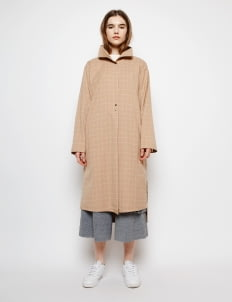 Muzca Khaki Windowpane Plaid Coat