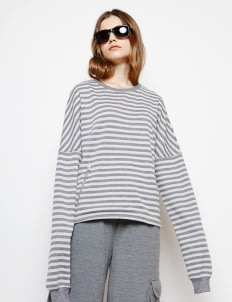 Muzca Gray Cropped Stripe Sweatshirt