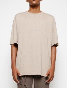 Muzca Beige Undefeated Mind In Drop Shoulder T-Shirt
