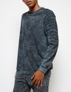 Muzca Dark Blue Acid Washed Sweatshirt