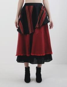 Oemah Etnik Red & Black Sentalu Tenun Skirt