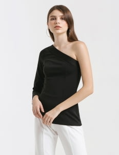 CLOTH INC Black Ulia One Shoulder Top