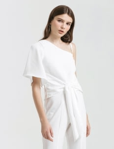 CLOTH INC White  Serena Tied Blouse