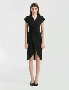 CLOTH INC Black Tulip Twisted Dress