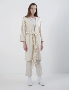 Mera Mera Studio Broken White Camillia Ruffled Rope Long Coat