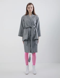 Mera Mera Studio Gray Paula Ruffled Robe Outerwear