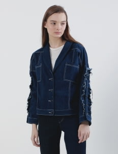 Mera Mera Studio Navy Zoe Ruffled Denim Jacket with White Threads