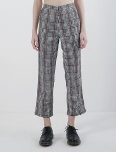 Calla The Label Gray & Red Line Tartan Pants