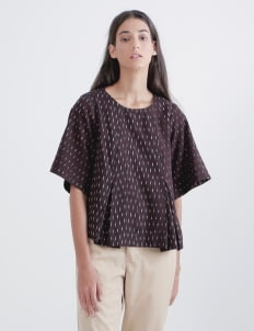 IKAT Indonesia by Didiet Maulana Black Red Kina Top