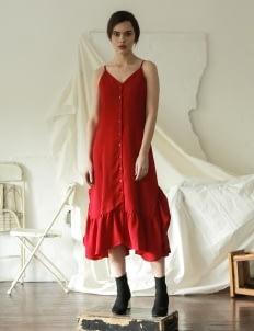 Commonwear Red Cosmo Maxi Line Dress