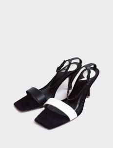 Christin Wu White Black Felicia Sandal Heels