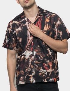 Monstore Black Extinction Cuban Pattern Shirt