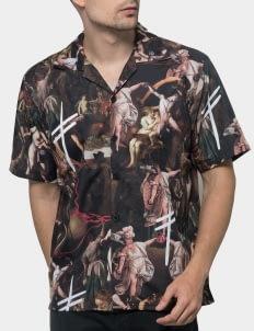 Monstore Brown Extinction Cuban Cross Pattern Shirt