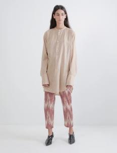 saptodjojokartiko Khaki Embroidery Linen Shirt