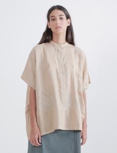 saptodjojokartiko Khaki Full Embroidery Linen Shirt