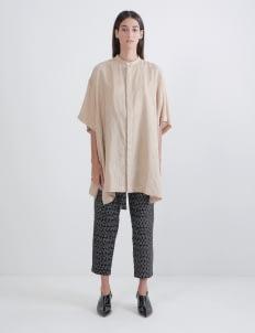 saptodjojokartiko Khaki Oversized Embroidery Shirt