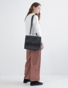 Aesthetic Pleasure Black Cassels Croc Embossed Leather