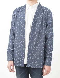 QUTN Blue Paisley Chambray Throw On Kimono