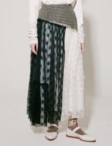 I.K.Y.K Nude & Black Himawari Mixed Skirt