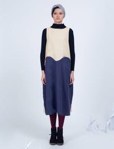 Amanda Rahardjo Cream, Navy & Light Gray Raffles Dress