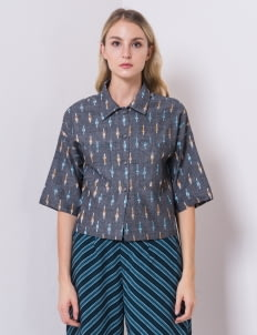 IKAT Indonesia by Didiet Maulana Gray Mabel Cropped Top