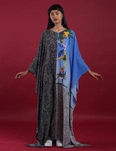 DIBBA Multicolor Kaya Raya Amin Chiffon Kaftan