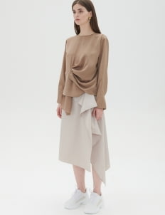 Shopatvelvet Brown Side Drape Top
