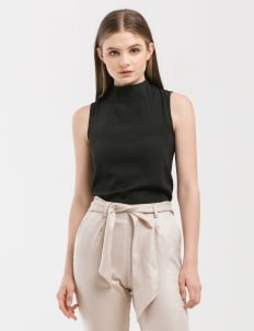 CLOTH INC Black Basic Funnel Neck Top