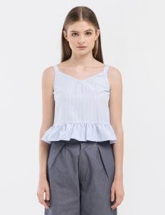 CLOTH INC Blue Stripe Date Tank Top